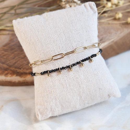 bracelet multi rangs en acier inoxydable avec perles noires et dorées