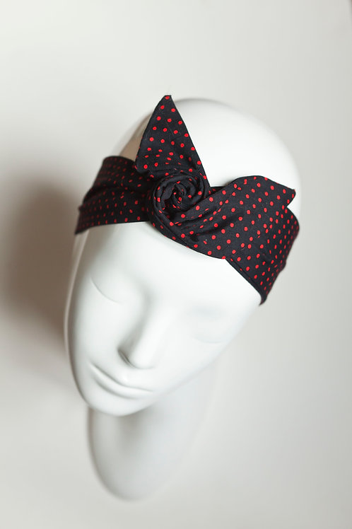 bandeau malin fil de fer motif noir à pois rouge
