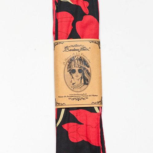 bandeau cheveux pour femme long et armé de fil de fer à motifs rouge et noir