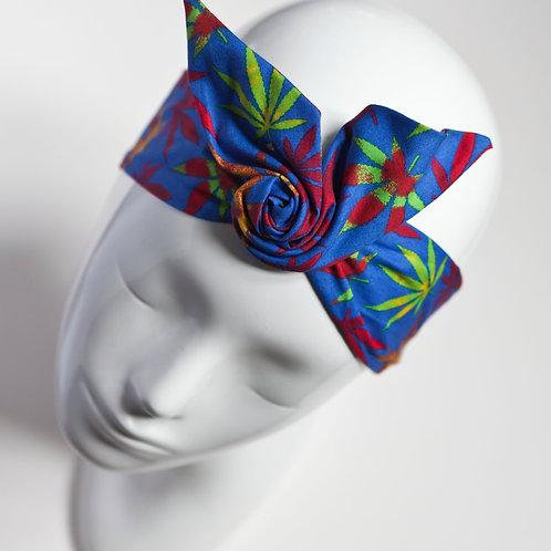 bandeau cheveux femme bleu imprimé feuilles de chanvre