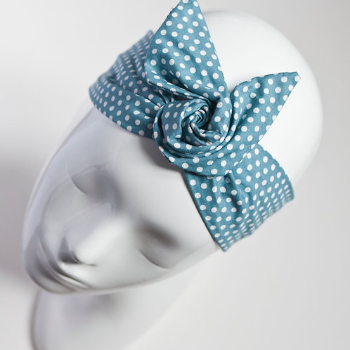 bandeau cheveux pour femme bleu à pois blancs