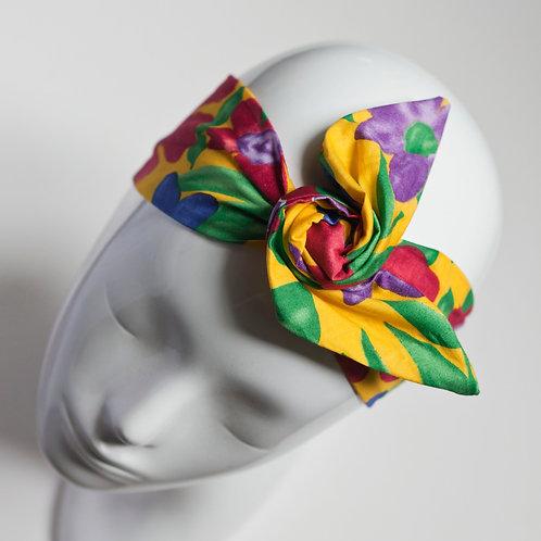bandeau cheveux pour femme jaune imprimé fleuri