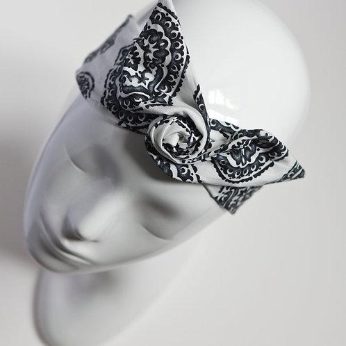 bandeau cheveux pour femme imprimé noir et blanc