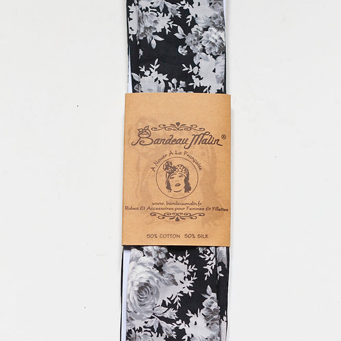 bandeau cheveux femme imprimé fleuri noir et blanc