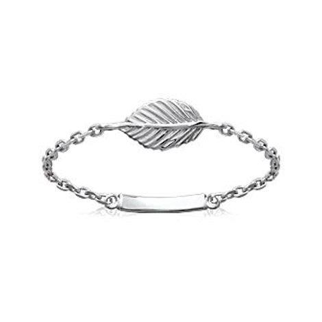 Bague très fine en argent pour femme dont l'anneau est formé par une chaînette style gourmette avec une petite plume