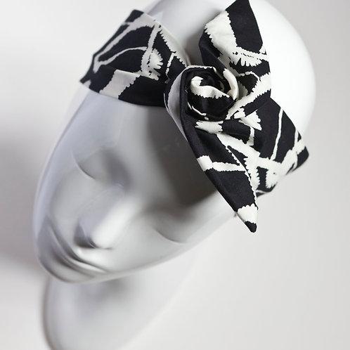 bandeau cheveux pour femme imprimé abstrait noir et blanc