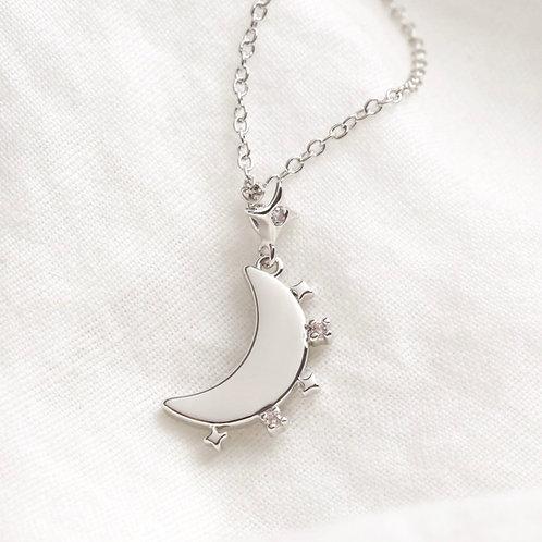 Crystal Edge Moon Pendant