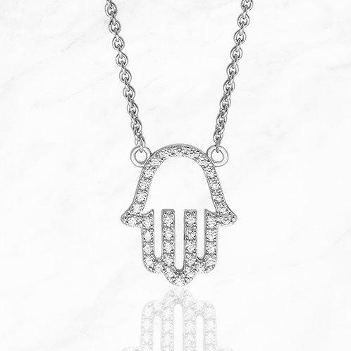 Silver Hamsa CZ Necklace