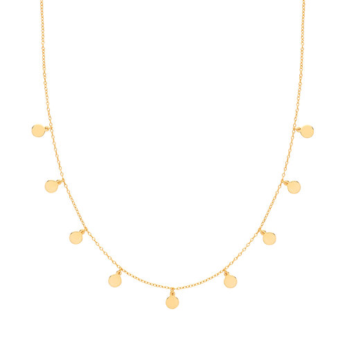 Disc Charm Necklet - Silver or Gold