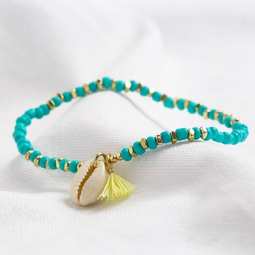 Turquoise Bead and Shell Bracelet