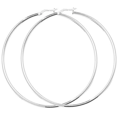 Silver 60mm Large Hoops