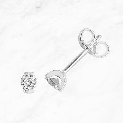 Silver Round CZ Earrings