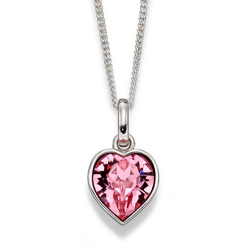 Swarovski Rose Heart Pendant & Chain