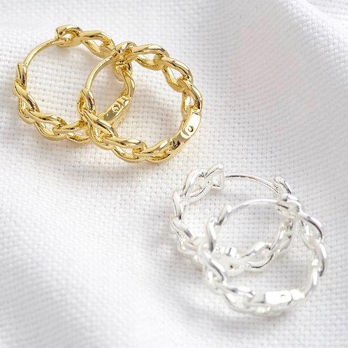 Chain Huggie Hoop Earrings