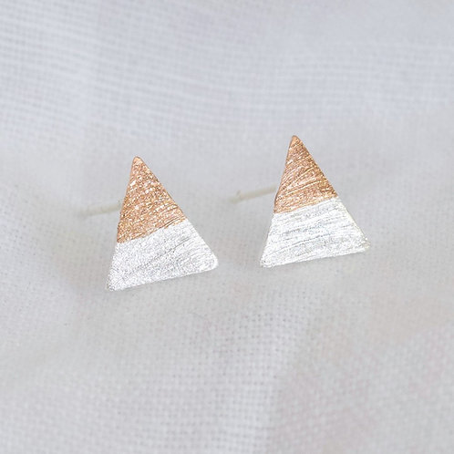 Silver & Rose Gold Dipped Stud Earrings