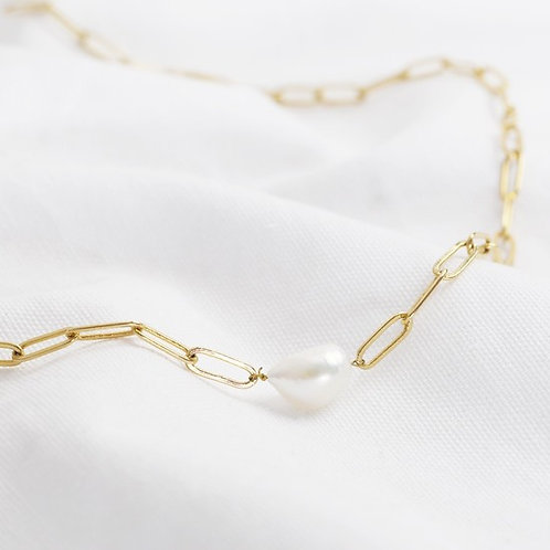Gold Necklace / Bracelet with Pearl