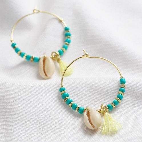 Turquoise Bead and Shell Hoop Earrings