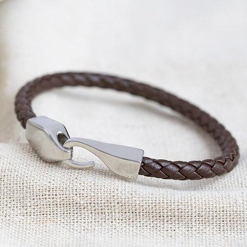 Men's Brown Woven Hook Bracelet