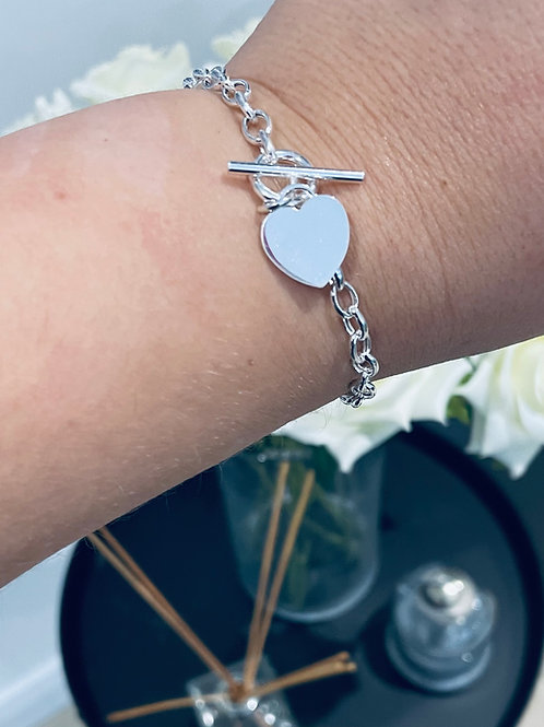 Silver T Bar Bracelet with Heart Charm