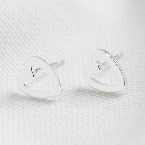 Heart Outline Earrings - Silver & Rose Gold
