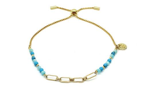 Turquoise & Gold Chain Bracelet