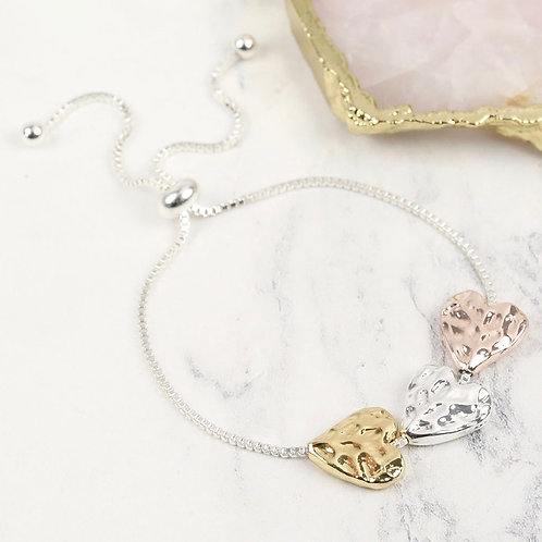 Mixed Metal Hammered Heart Bracelet