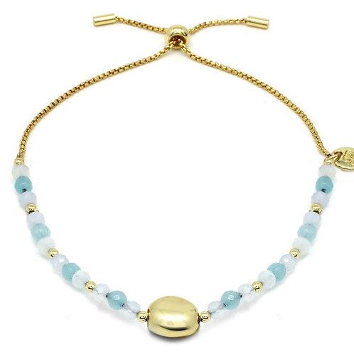 Pale Blue & Gold Pebble Bracelet