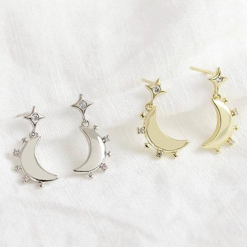Crystal Edge Moon Earrings