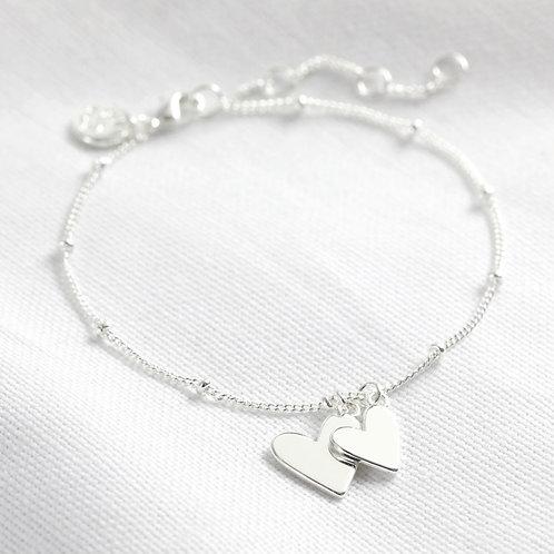 Falling Double Heart Bracelet - Rose Gold or Silver