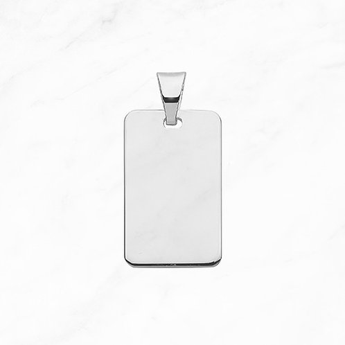 Silver Rectangular Tag Pendant