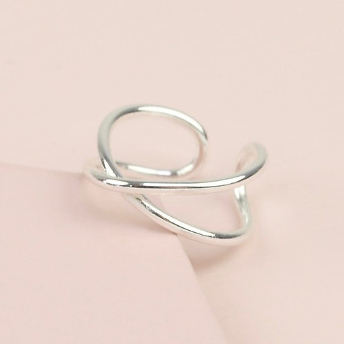 Sterling Silver Curved Cross Ear Cuff