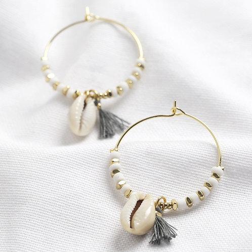 White Bead Shell & Hoop Earrrings