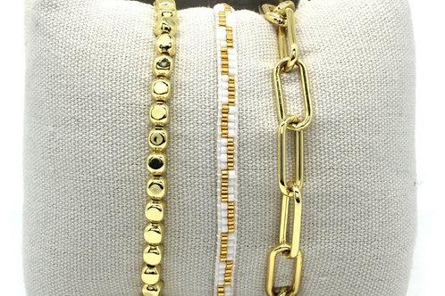 Gold Tri Bracelet set