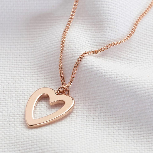 Heart Outline Pendant in Rose Gold or Silver