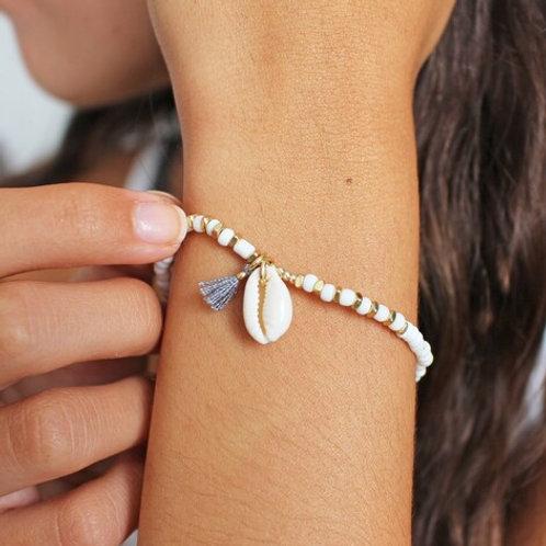 White Beaded Shell Charm Bracelet