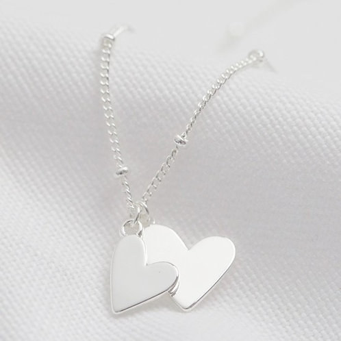 Falling Double Heart Necklace Silver & Rose Gold