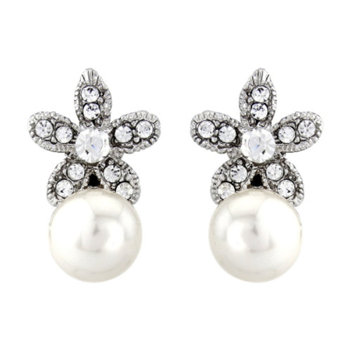 CZ Star and Pearl Earrings