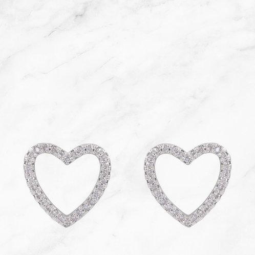 White Gold Heart Stud Earrings
