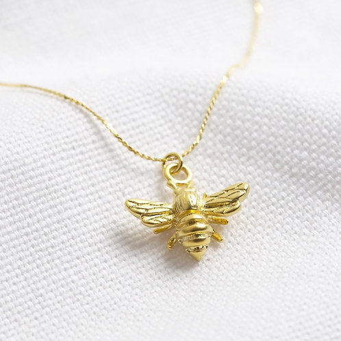 Small Gold Bumblebee Pendant & Chain