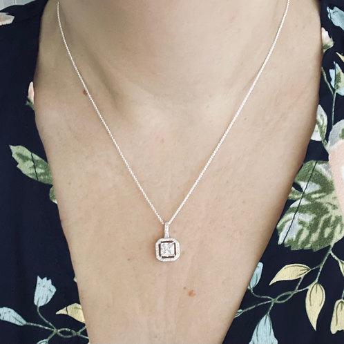 Silver Square Cubic Zirconia Pendant & Chain