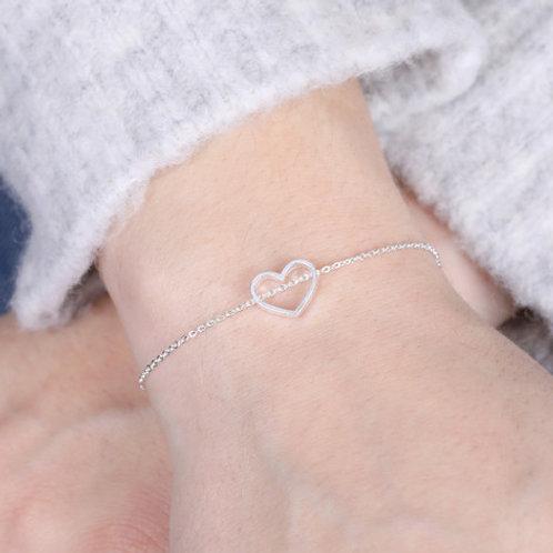 Open Heart Silver Bracelet