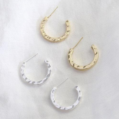 Hammered Hoop Earrings - Gold & Silver