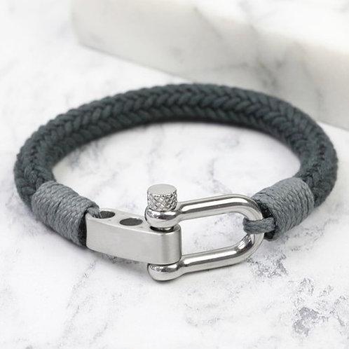 Men's Adjustable Rope Cord Bracelet - Grey