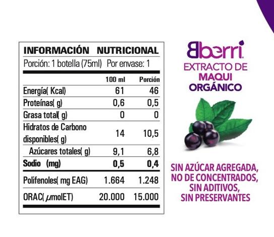 Extracto de maqui información nutricional
