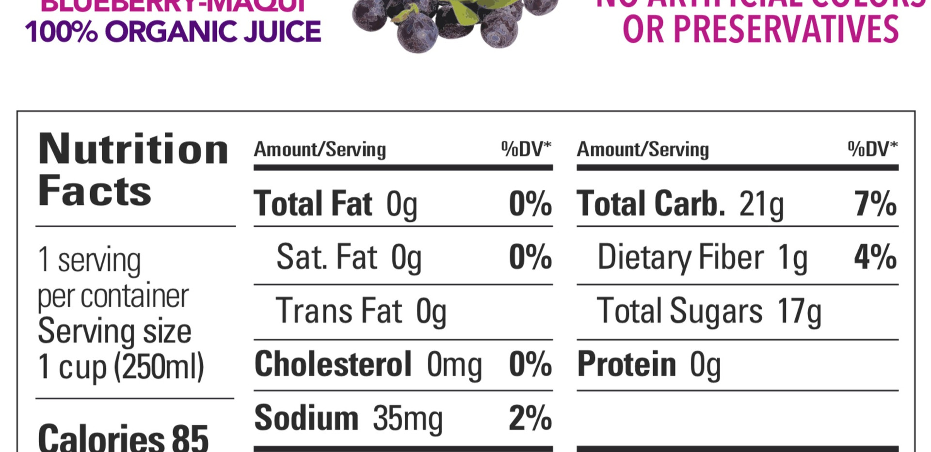 Blueberry Maqui Nutrition Facts