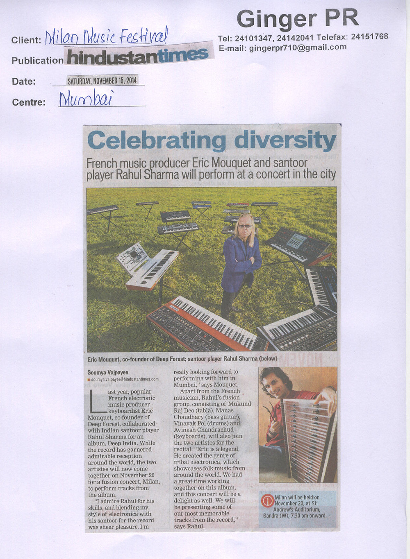 Hindustan Times - 15.11.2014 ( Milan Music Festival).jpg