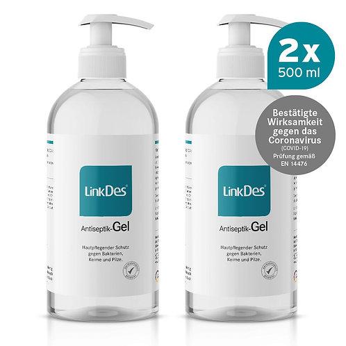LinkDes® Antiseptik Gel, Desinfektionsgel für die Hände (2x 500 ml)