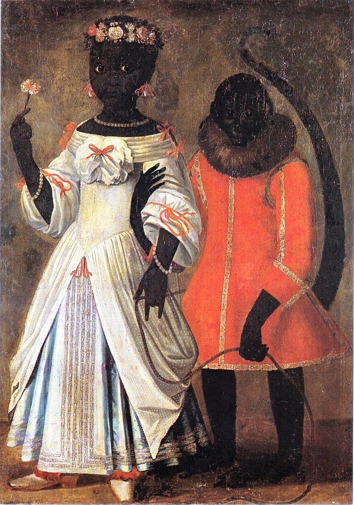 """Black Girl With Monkey"" - Jan Jebsen, ca. 1690  Exhibit: Kings Collection, Rosenborg Castle"