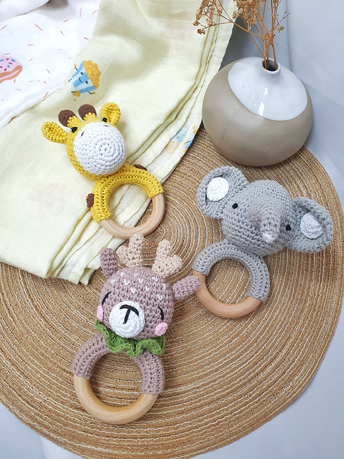 Full baby rattle set (Animal series)