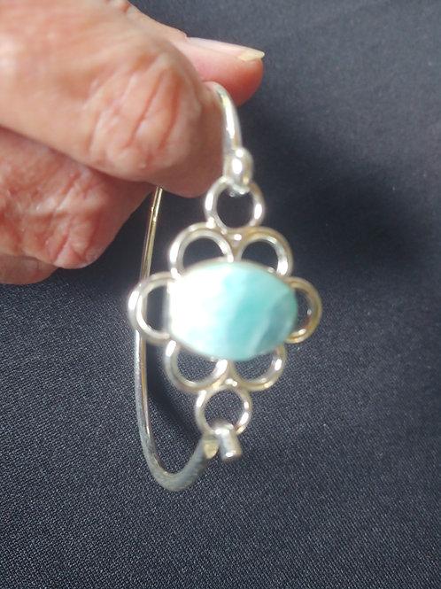Larimar Fancy Oval Stone Bangle Bracelets